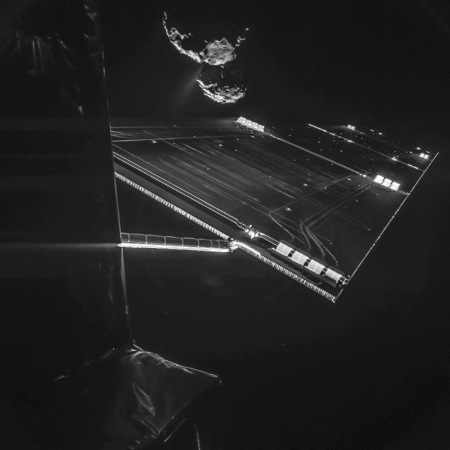 Title Rosetta mission selfie at 16 km | Released 14/10/2014 4:00 pm | Copyright ESA/Rosetta/Philae/CIVA Description: Using the CIVA camera on Rosetta's Philae lander, the spacecraft have snapped a 'selfie' at comet 67P/Churyumov–Gerasimenko from a distance of about 16 km from the surface of the comet. The image was taken on 7 October and captures the side of the Rosetta spacecraft and one of Rosetta's 14 m-long solar wings, with the comet in the background. Two images with different exposure times were combined to bring out the faint details in this very high contrast situation. The comet's active 'neck' region is clearly visible, with streams of dust and gas extending away from the surface. More information via the blog: Mission selfie from 16 km Id 324361