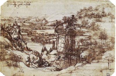 Leonardo da Vinci. Estudio de un paisaje de La Toscana (1473)