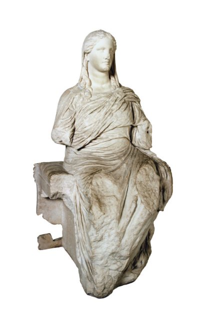 Marble cult statue of Demeter, goddess of nature. Greek, carved around 360 BC. H. 152 cm. British Museum, London 1859,1226.26